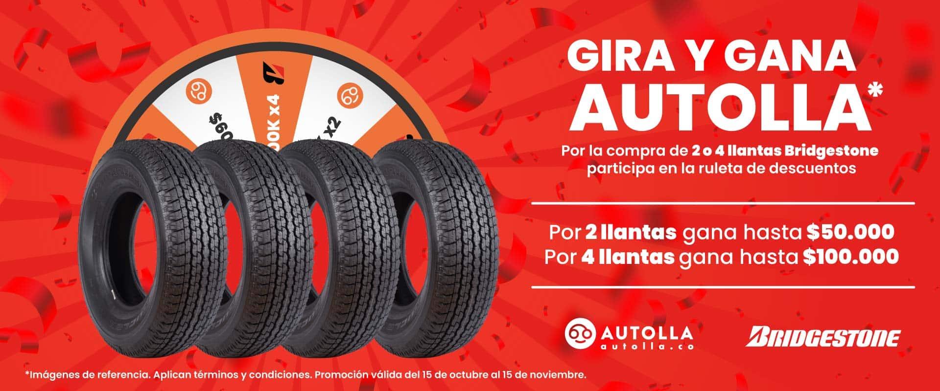 Gira y gana Autolla: Por la compra de 2 o 4 llantas Bridgestone participa en la ruleta de descuentos