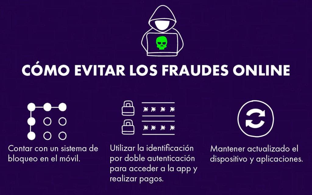 Evita los fraudes online con: Sistema de bloqueo en el móvil, doble autenticación y actualizaciones al día