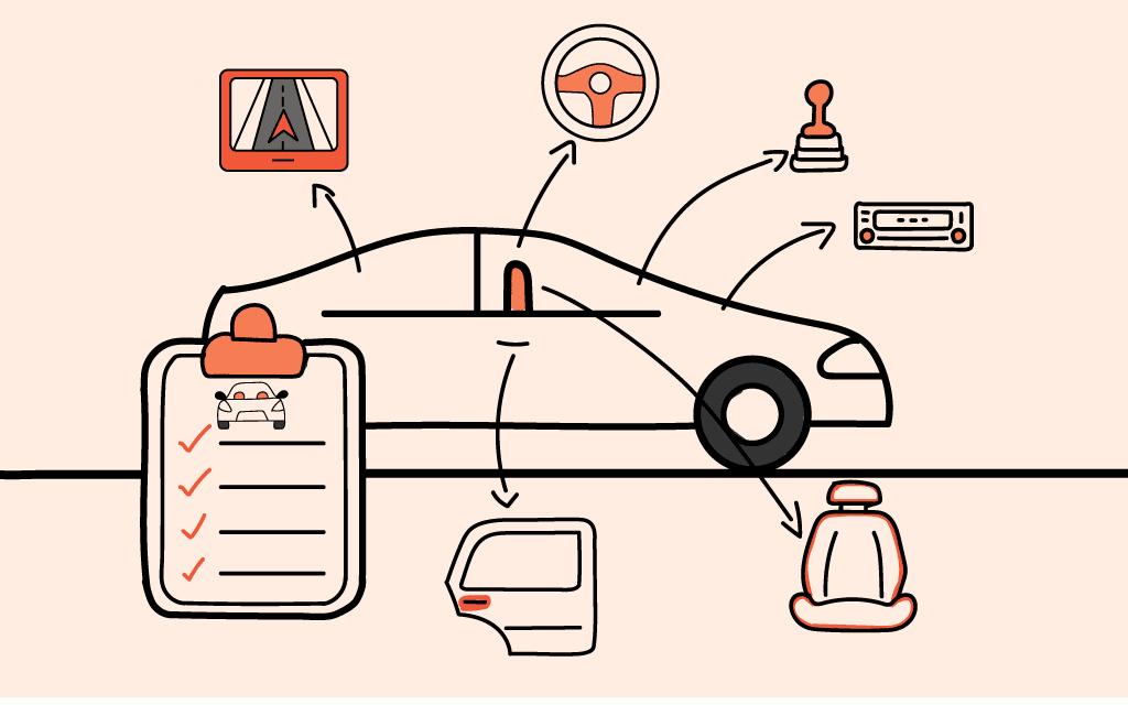 Un vehículo señalando todas las superficies con mayor riesgo de infección