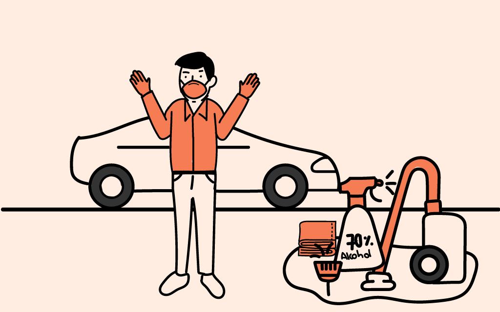 Persona con su vehículo y todos los utensilios de limpieza necesarios para desinfectar el vehículo
