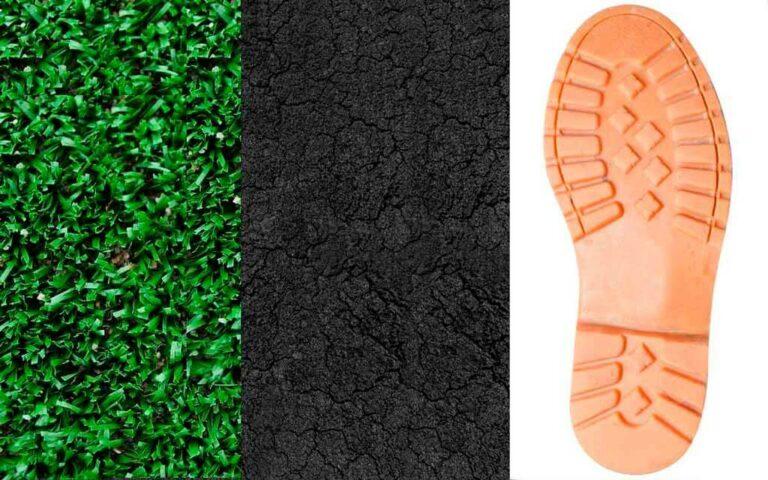 Algunos de los resultados de llantas recicladas: Canchas sintéticas, pisos para parques, y suelas de zapatos.