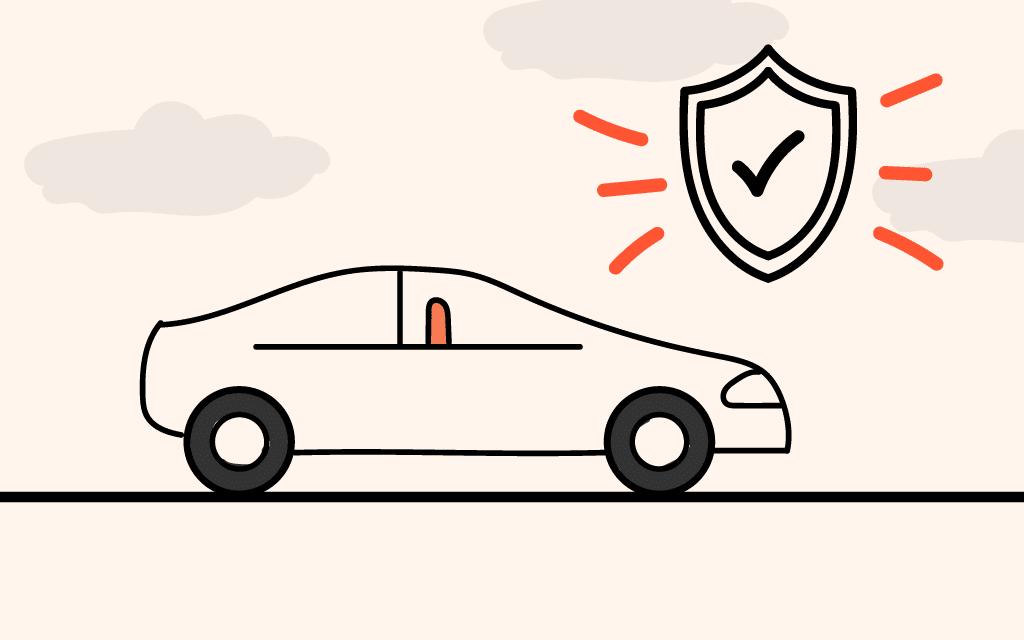 Vehículo con escudo significando protección y prevención