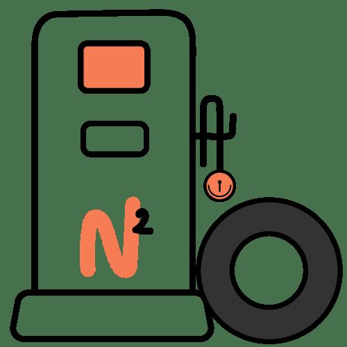 Máquina inflando una llanta con nitrógeno
